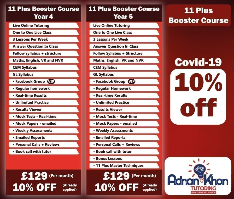 11 Plus Booster Course Adnan Khan Tutoring